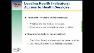 Leading Health Indicators Webinar: Access to Health Services (Part 1 of 4)
