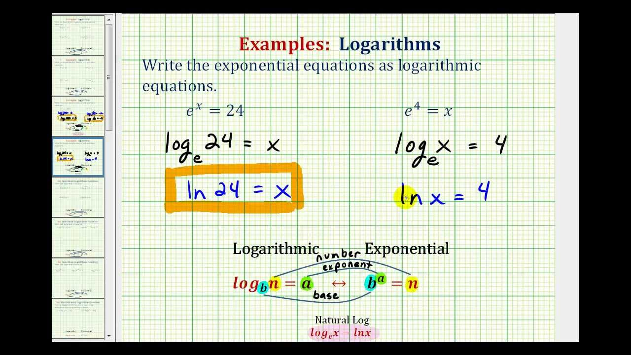 Ex: Write Exponential Equations as Logarithmic Equations - Natural ...