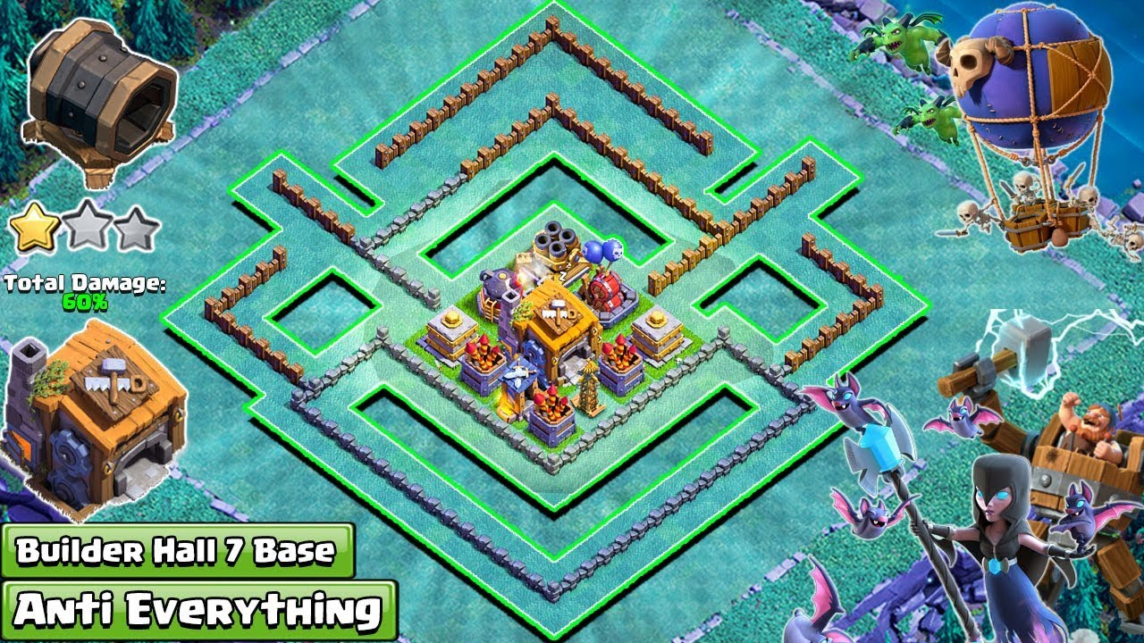 Best Builder Hall 7 Bh 7 Base 2018 Design Anti 1 Star Anti 2 Star Anti All Clash Of Clans Youtube