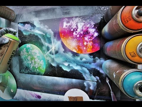 Dueling Planets - SPRAY PAINT ART - by Skech