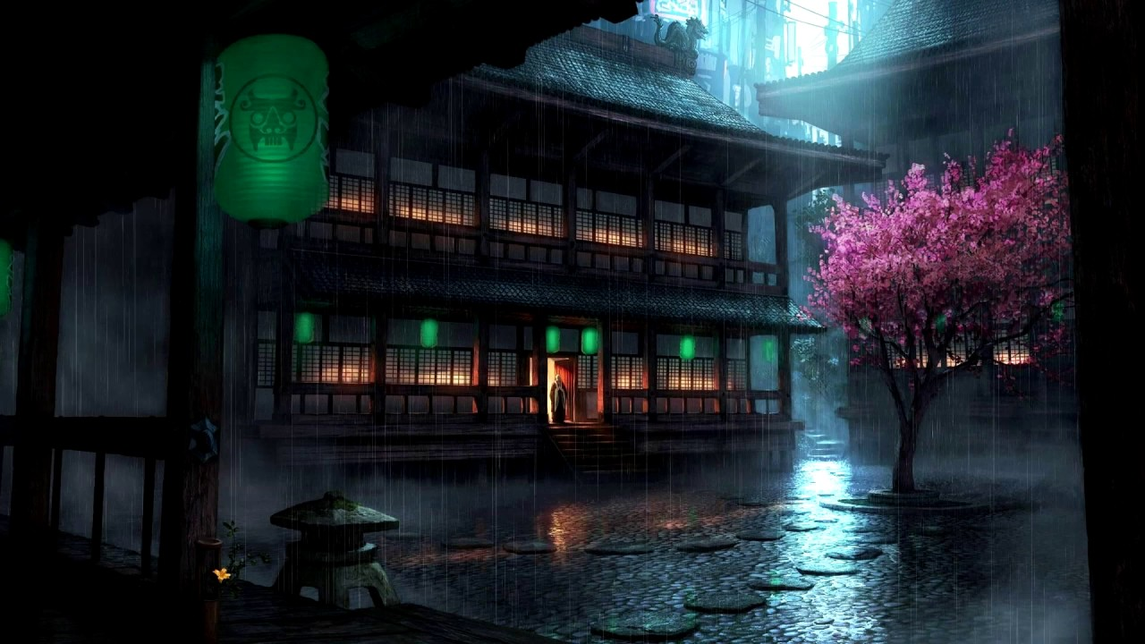 wallpaper engine | anime backyard rain preview - cg rain animation