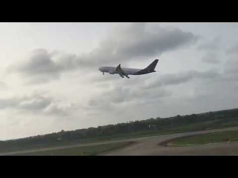 (AIRPORT TOWER VIEW) Brussels Airlines A330-200 late afternoon take-off to Monrovia