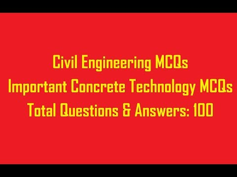 CONCRETE TECHNOLOGY 100 OBJECTIVE QUESTIONS || CIVIL ENGINEERING OBJECTIVE