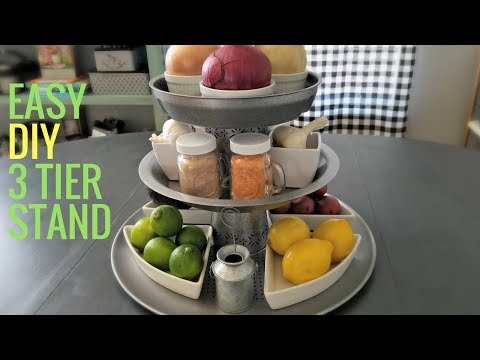 Easy DIY Three Tier Metal Stand with Thrift Store Items. No Driling Required.