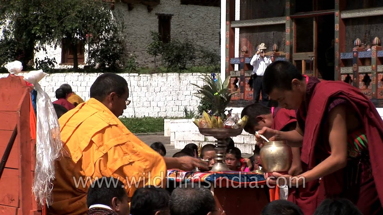Monks performing the religious rituals during the ceremony in Bumthang,  Bhutan