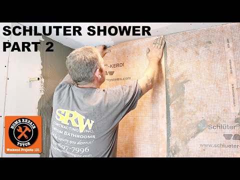 Schluter Shower Installation (Part 2 - Waterproofing Walls with KERDI) -- by Home Repair Tutor