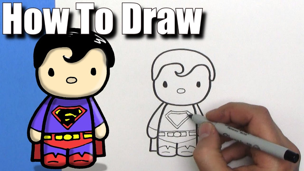 how to draw a cute cartoon superman easy chibi step by step kawaii youtube - Cartoon Drawings Kids