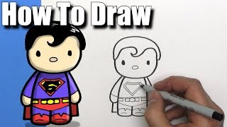 How To Draw a Cute Cartoon Superman - EASY Chibi - Step By Step - Kawaii