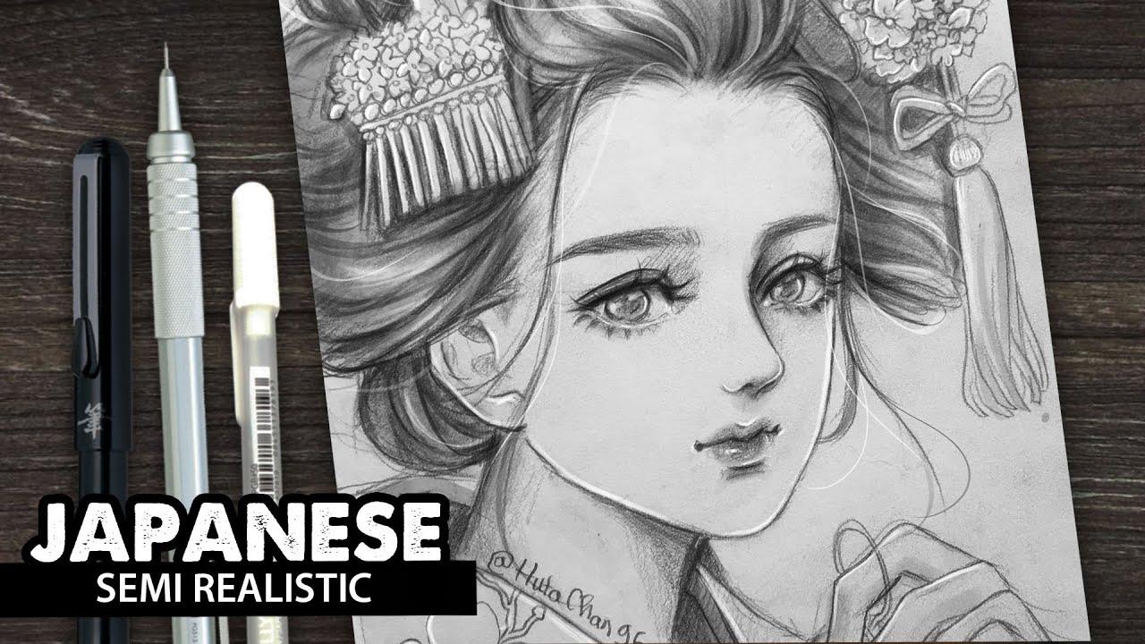 Draw Princess Japanese girl | semi realistic style