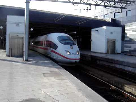 HIGH SPEED TRAN GERMAN ICE 3 LEAVING BRUSSELS SOUTH