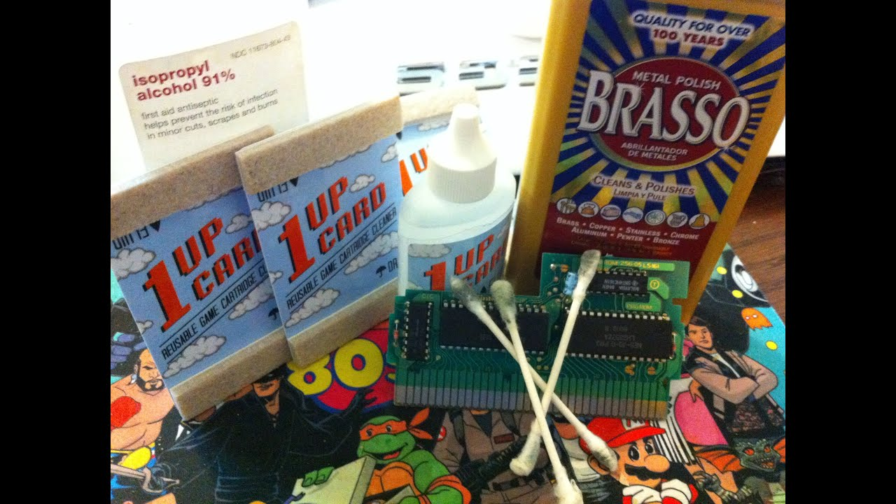 Cleaning NES Carts - 1UP Cards vs  Brasso vs  Rubbing Alcohol