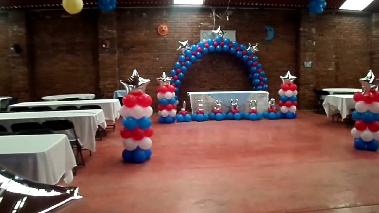 Decoraci n con globos capit n am rica toluca youtube - Decoracion columnas salon ...