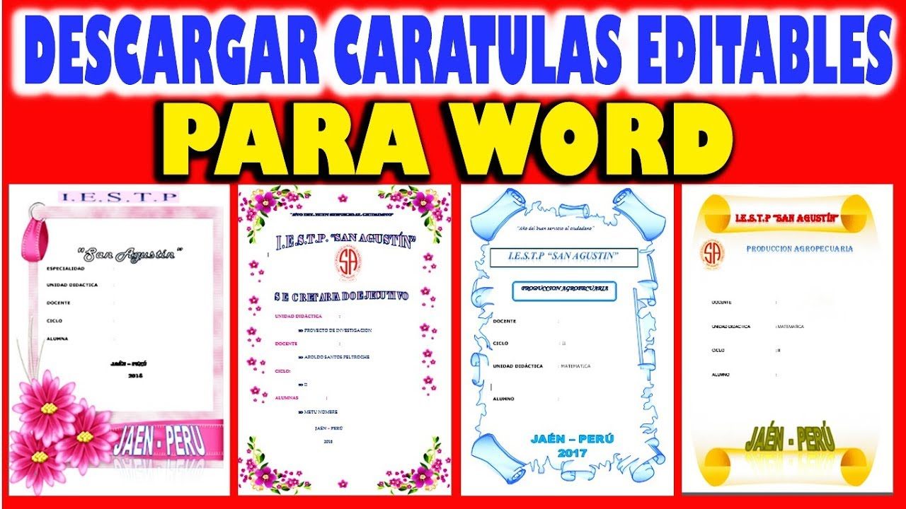 descargar caratulas editables para word youtube
