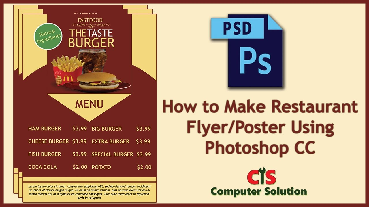how to make restaurant flyer poster using photoshop cc youtube