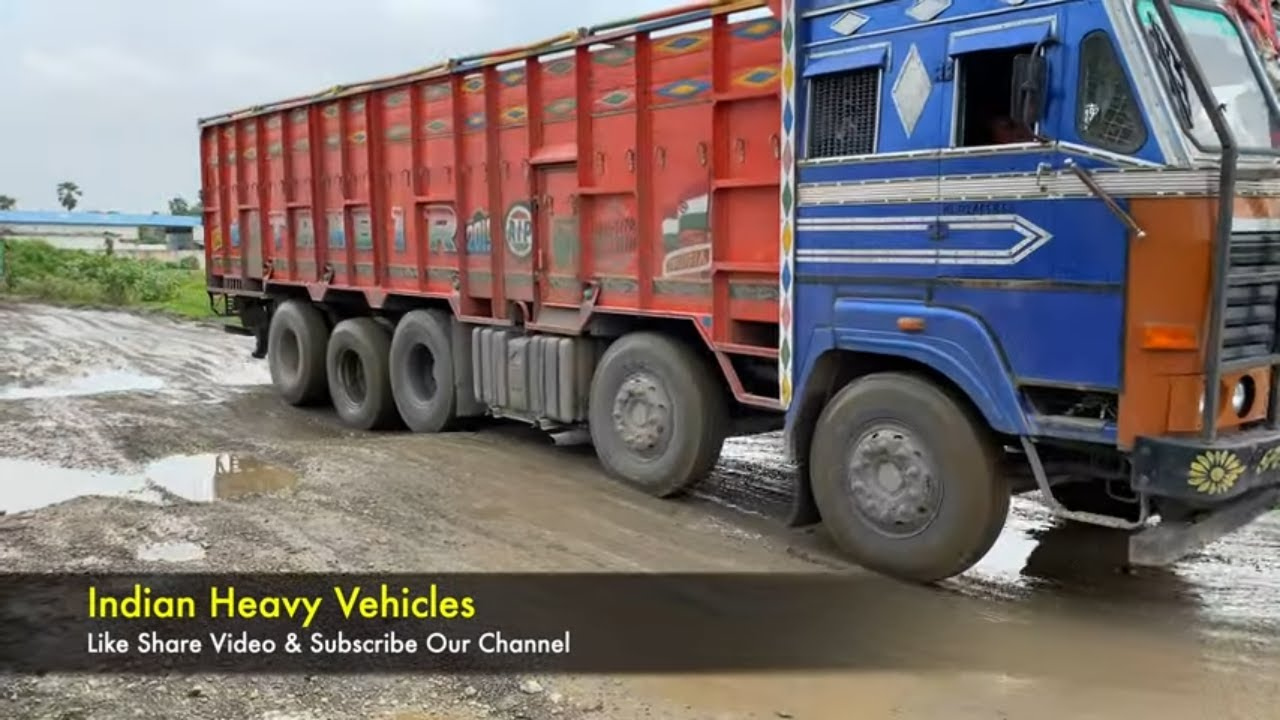 Dirt Road Vs Heavy Duty Trucks - Indian Heavy Trucks Are Struggles On Indian Dirt Road.