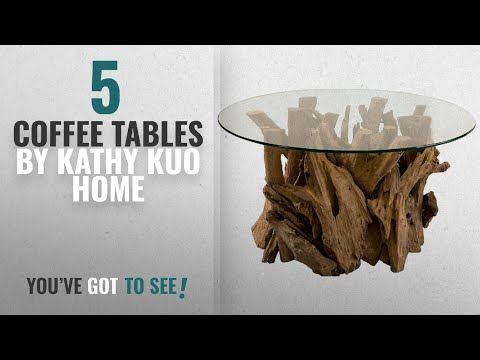 Top 10 Kathy Kuo Home Coffee Tables [2018]: Plymouth Coastal Beach Teak Driftwood Round Glass Coffee