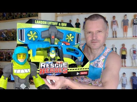 FISHER PRICE RESCUE HEROES LANDON LIFTOFF & QRV UNBOXING REVIEW