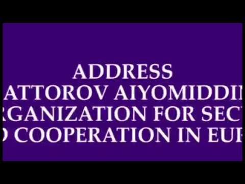 ADDRES SATTOROV AIYOMIDDIN TO ORGANIZATION FOR SECURITY AND COOPERATION IN EUROPE - PERSIAN