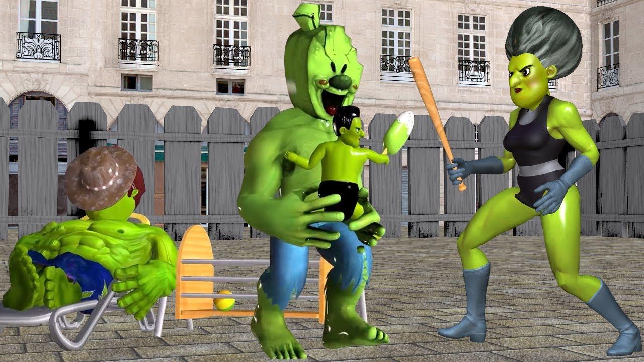 Scary Teacher 3D Ice Scream Man Troll Child of Miss T She Hulk with Hello Neighbor Sleeping