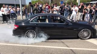 Mercedes-Benz C63 AMG ABSOLUTELY INSANE BURNOUT AND DRIFT | HD