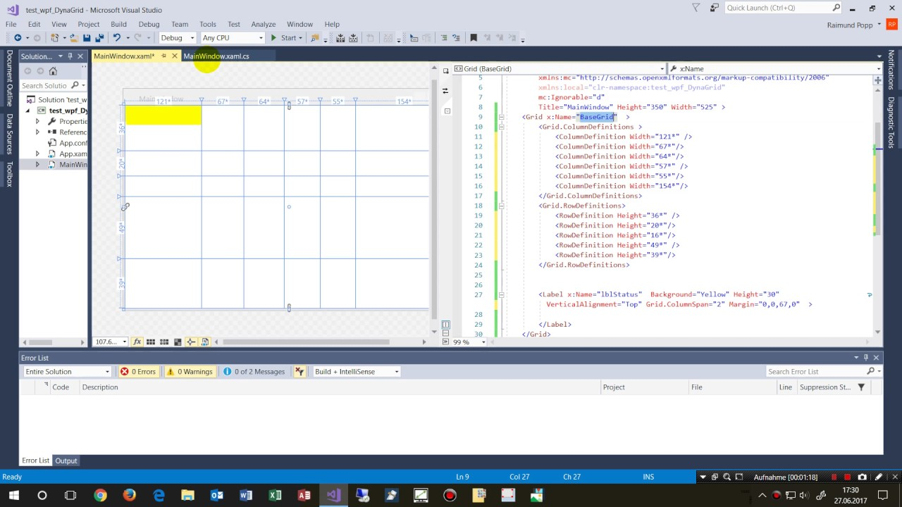 WPF Dynamic Grid Multi-Rows Column Grid Events