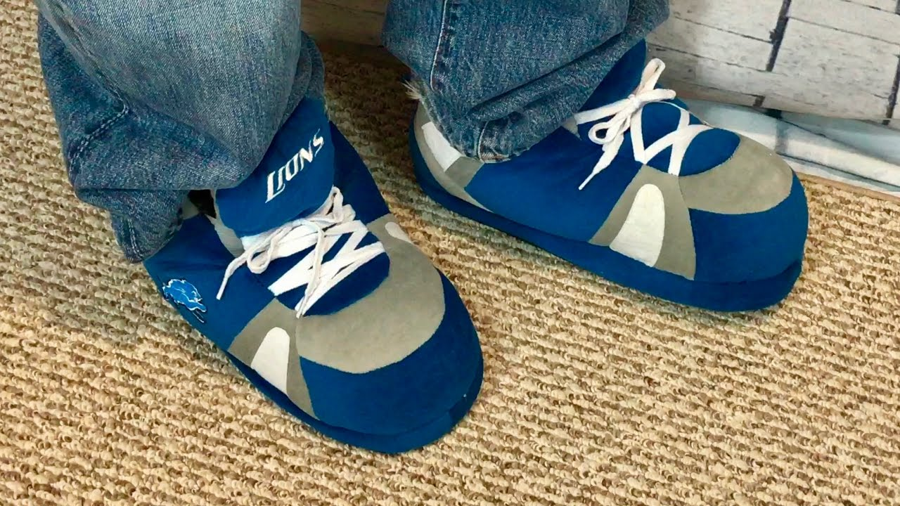 4305f4fbd322b6 Happy Feet Detroit Lions NFL Sneaker Slippers by Comfy Feet review ...