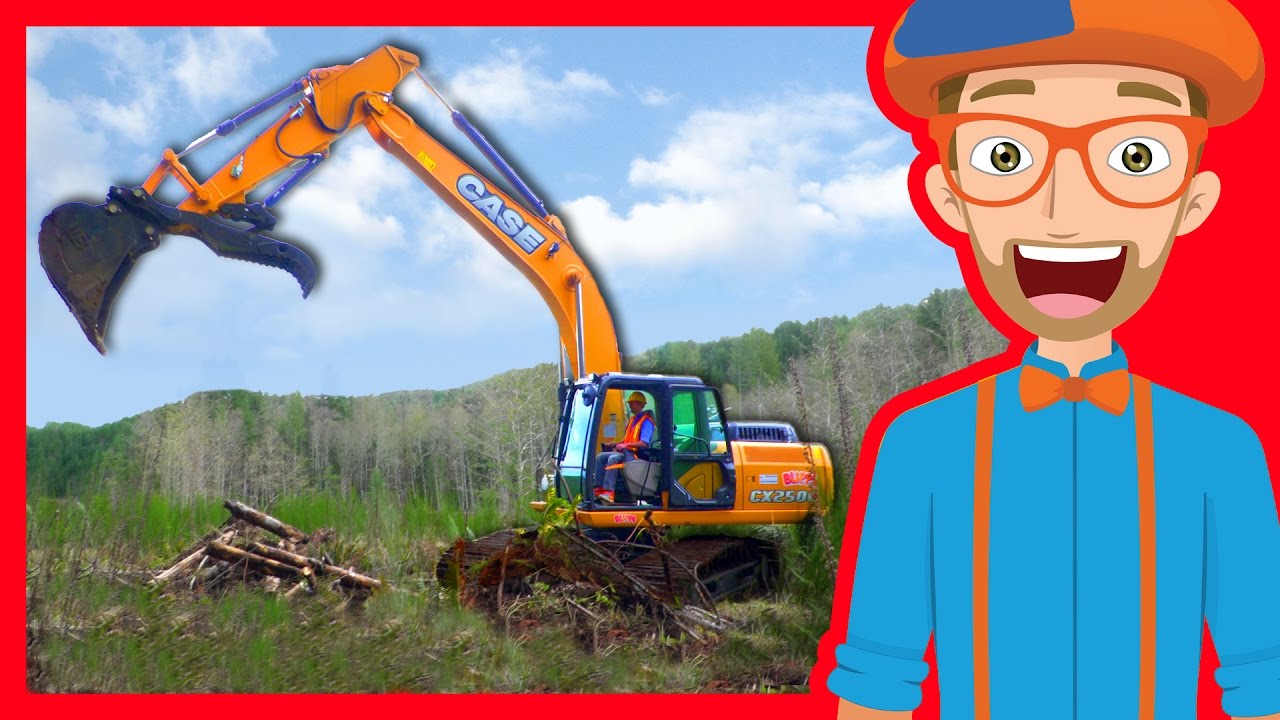 Construction Trucks For Children With Blippi Excavators
