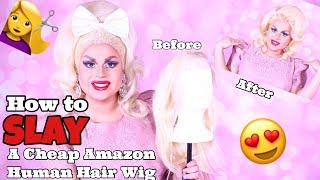 HOW TO SLAY A CHEAP HUMAN HAIR WIG FROM AMAZON | JAYMES MANSFIELD