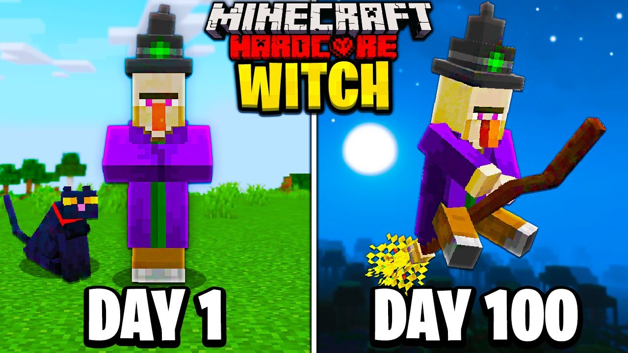 Download I Survived 100 Days as a WITCH in Hardcore Minecraft...