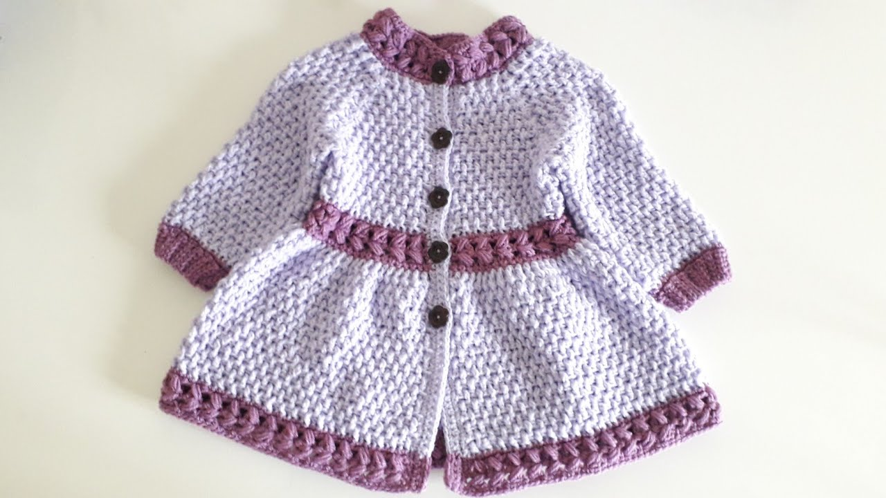"Crochet #32 How to crochet "" Springtime "" girls coat / Part 1"