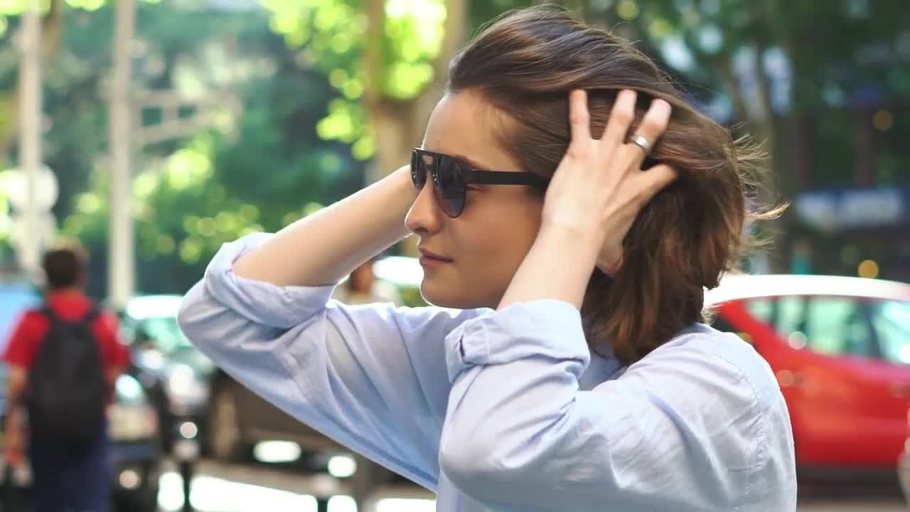94bcd2ec77 Portrait of Beautiful Young Girl In Sunglasses Stock Video - YouTube