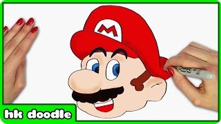 How To Draw MARIO from SUPER MARIO BROS - Step by Step Drawing Tutorial by HooplaKidz Doodle