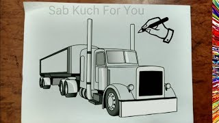 #16 How to Draw Semi Truck   Step by step easily 😊 Tutorial
