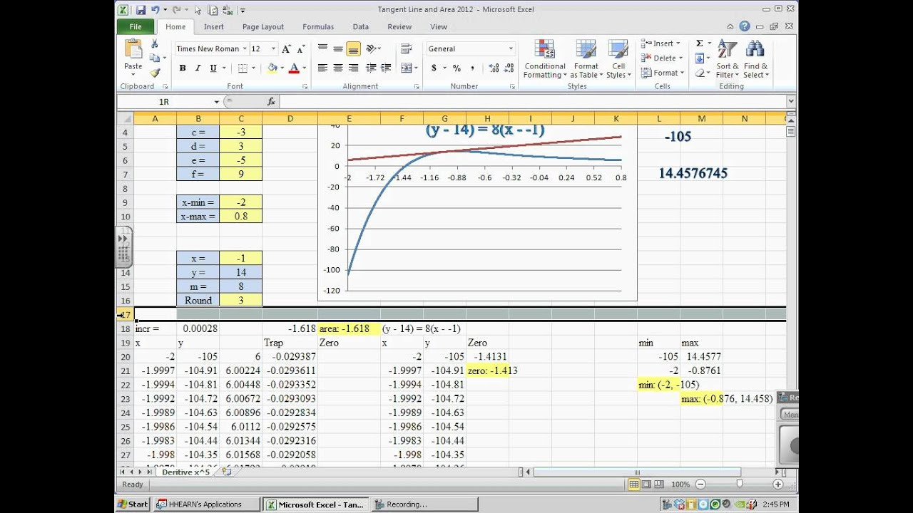 Drawing Lines Excel : Excel graph with tangent lines and area under the curve pt
