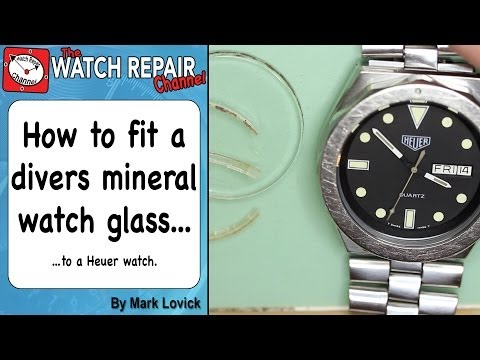 How to fit a new watch glass - flat mineral divers style. Watch repair tutorial. Tag Heuer