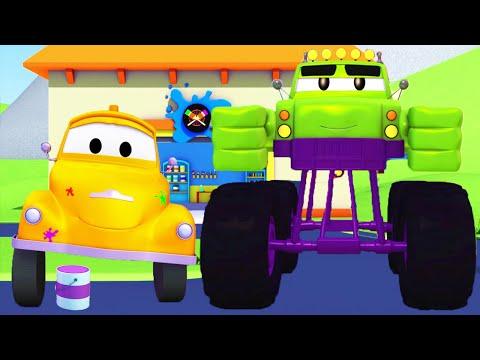 Marly is de Hulk - Tom de takelwagen's Verfwinkel in Autostad 🎨 Cartoons voor kinderen
