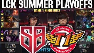 SB vs SKT Game 1 Highlights LCK Summer Playoffs - SANDBOX vs SKT T1 Game 1 Highlights LCK Summer 201