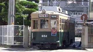 広島電鉄 650形652号車 千田車庫に入る 広島カープ・リーグ優勝ヘッドマーク 20171004