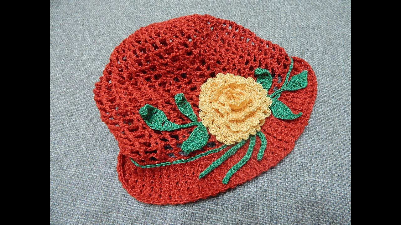Gorra Crochet para Niña en hilo de Algodón - YouTube