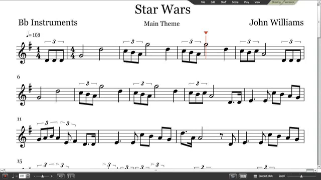 star wars sheet music - trumpet  clarinet  tenor sax
