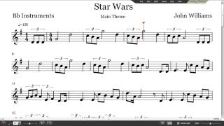 Star Wars Sheet Music - Trumpet, Clarinet, Tenor Sax