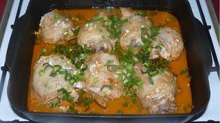 Куриные бедра в духовке.  Рецепт с вкусным соусом.