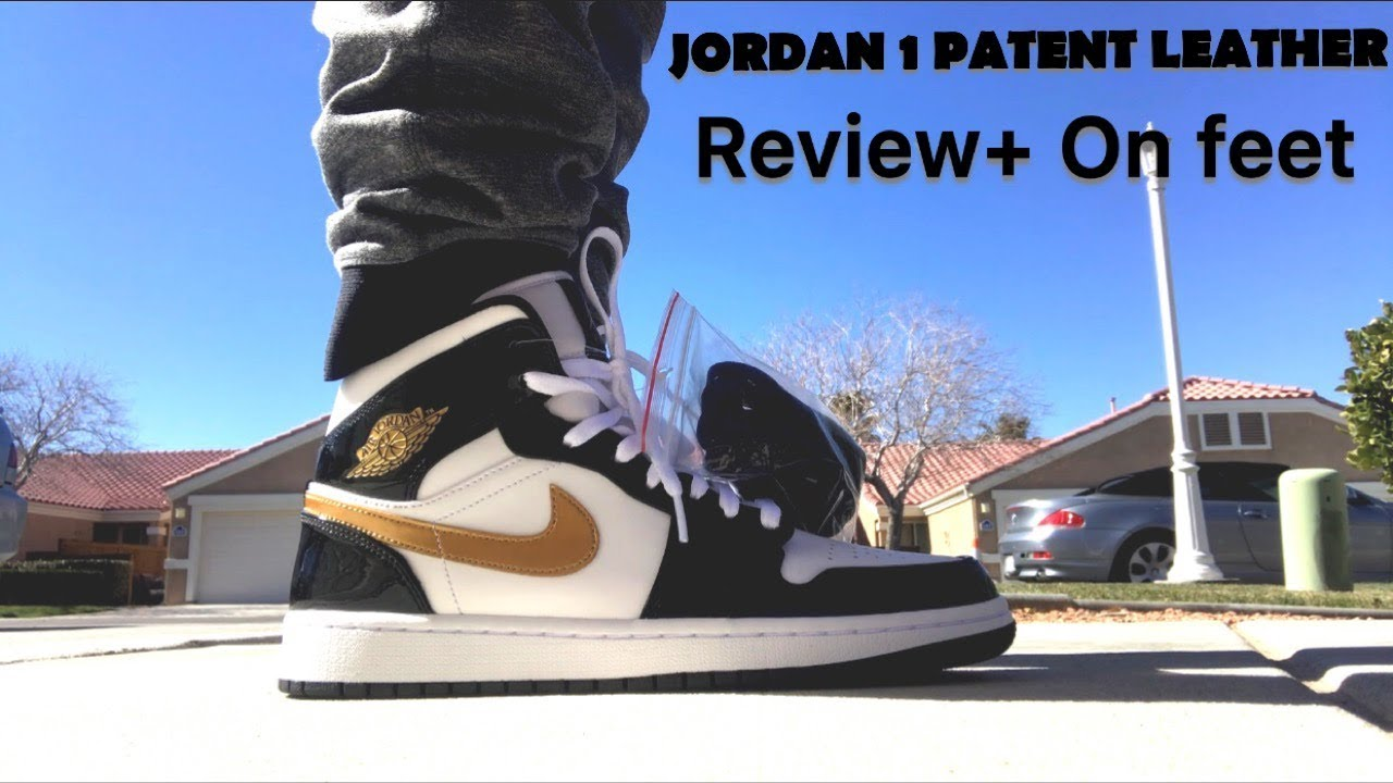 super popular 2bd63 43367 Jordan 1 MID Patent Black   Gold review + On Feet!!!! - YouTube