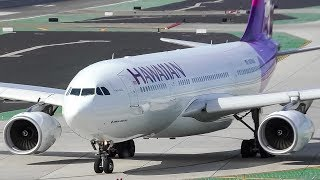 Hawaiian Airlines Airbus A330-200 Taxi and Takeoff from San Diego