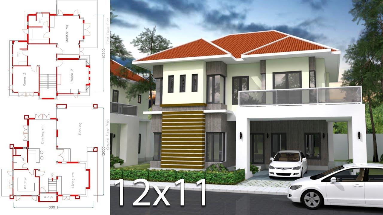 Home Design 3d 12x11m 3 Bedrooms Sketchup Exterior