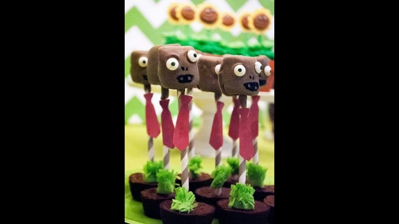 Decoraciones diy para fiesta plantas vs zombie brocheta for Decoracion con globos plantas contra zombies