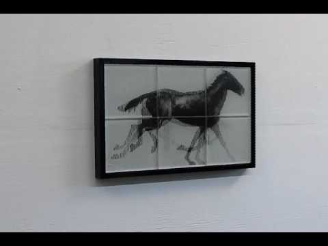 large galloping horse 6 tiles 16 x 24 brown white shown in black frame edition of 200