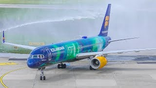 BOEING 757 gets a WATER CANON salute - First flight of Icelandair (4K)