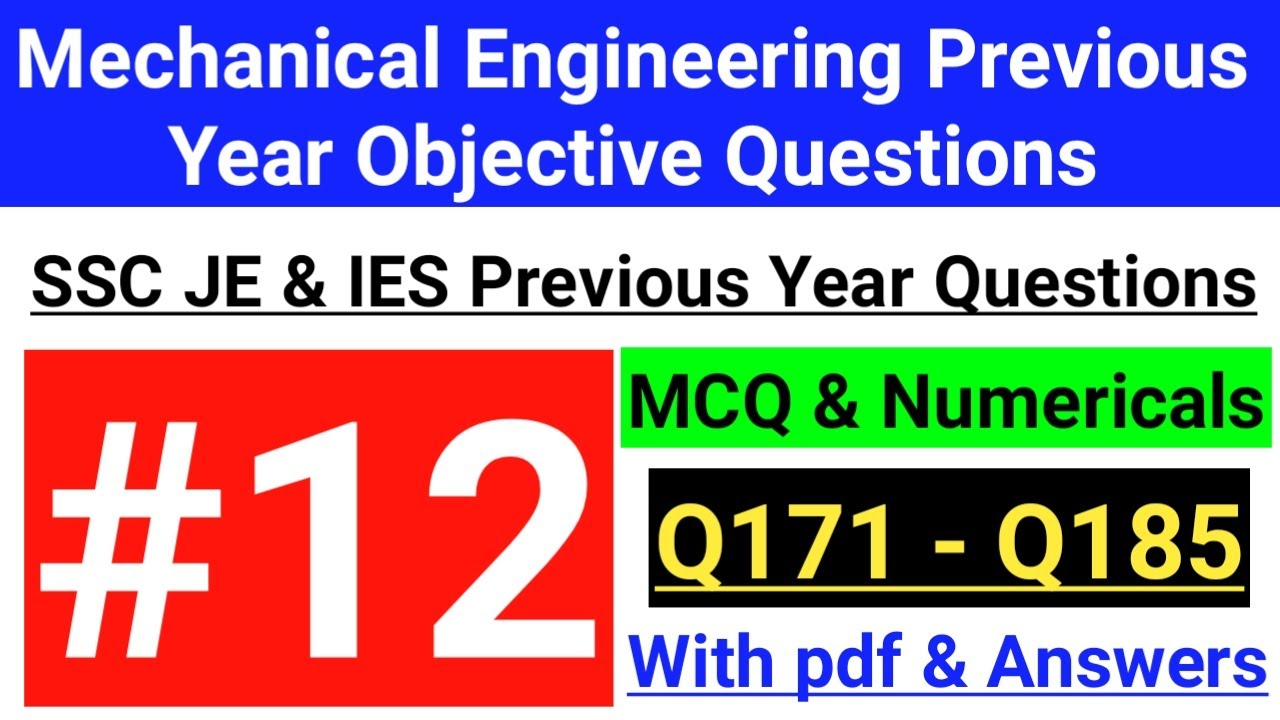 Mechanical Engineering Objective Questions || SSC JE // Previous Year Questions || Important