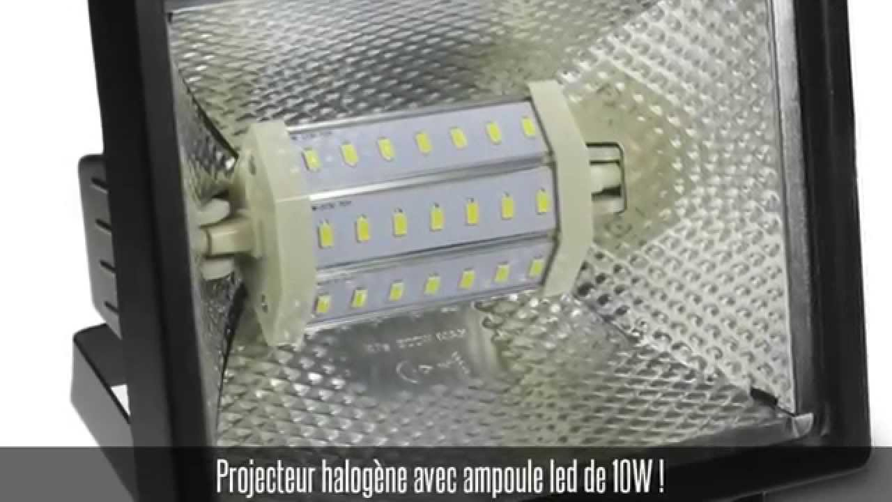 projecteur halog ne noir ip 54 ampoule led smd 10w blanc froid youtube. Black Bedroom Furniture Sets. Home Design Ideas